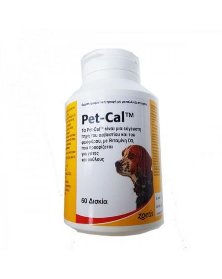 Pet Cal Συμπλήρωμα Διατροφής για Σκύλους & Γάτες 60 Δισκία