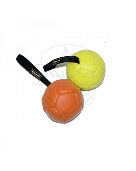 Ecological leather ball with a handle, filled with a diameter of 13 cm